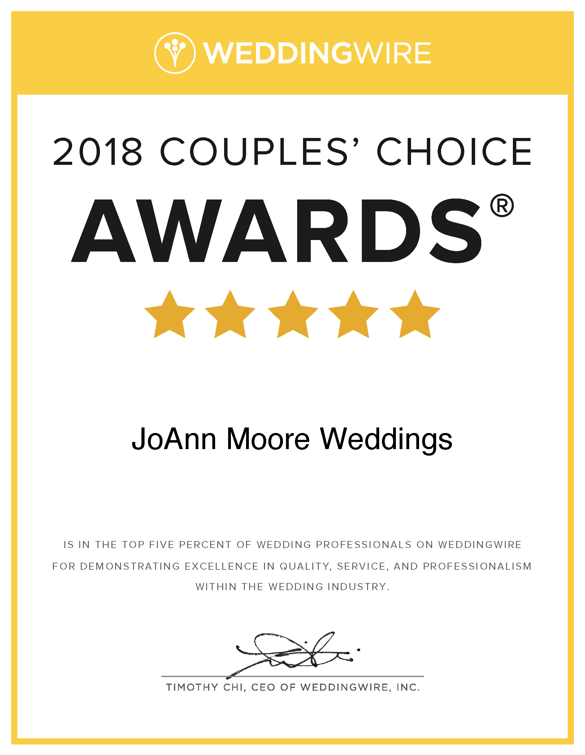 award winning wedding planner